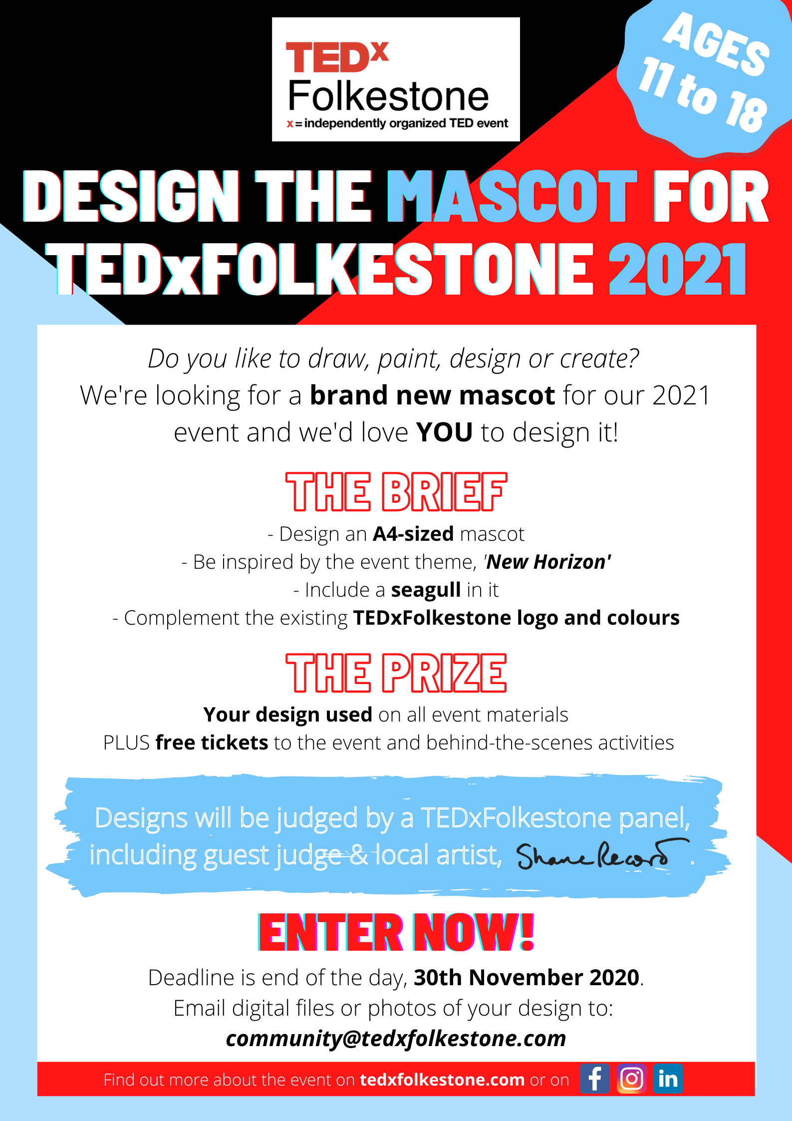 Design Brief for TEDxFolkestone 2021 Mascot Competition